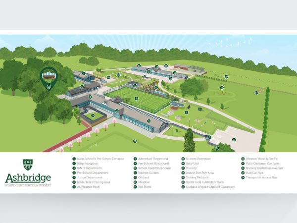 <span>Ashbridge School and Nursery Map</span><i>→</i>
