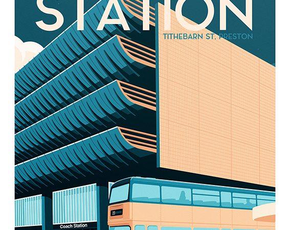 <span>Preston Bus Station Retro travel poster</span><i>→</i>