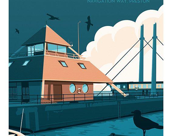 <span>Preston Marina Retro travel poster</span><i>→</i>
